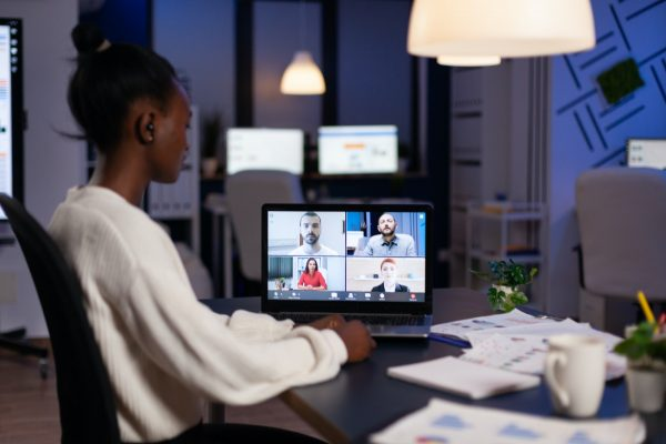 African american businesswoman having online business meeting with remote partners